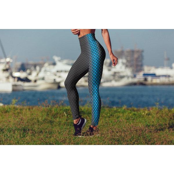 Sjöjungfru tryckta leggings MMid Waist Capris