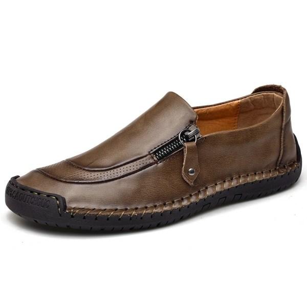 äkta läder män casual skor Khaki 6