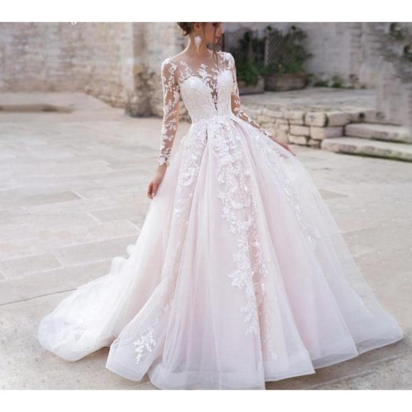 Långärmad prinsessa bröllopsklänning Beige 16