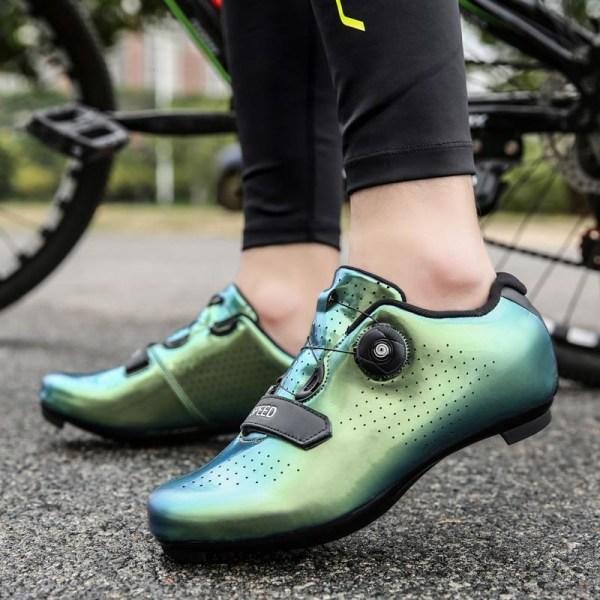 Självlåsande cykelskor, proffsskor Green(Rubber) 11