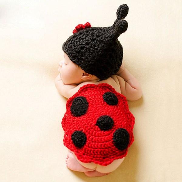 Baby nyfödda fotografi rekvisita, kostym, tecknad stickad hatt 10