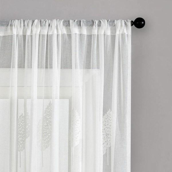 Diy broderade blad rena gardiner för vardagsrummet a White W200xL250cm 1pc3.HOOK TAPE TOP