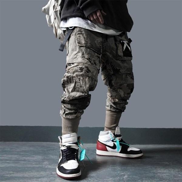 Avtagbara lastfickbyxor med flera fickor, hip hop Black XL