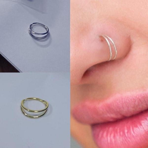 Dubbla runda näsringar i sterling silver för kvinnor M