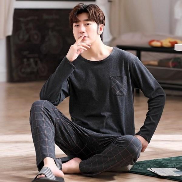 Höst- nattkläder långärmad, bomullspyjamas med byxor ser-5 2XL (75-85kg)Y