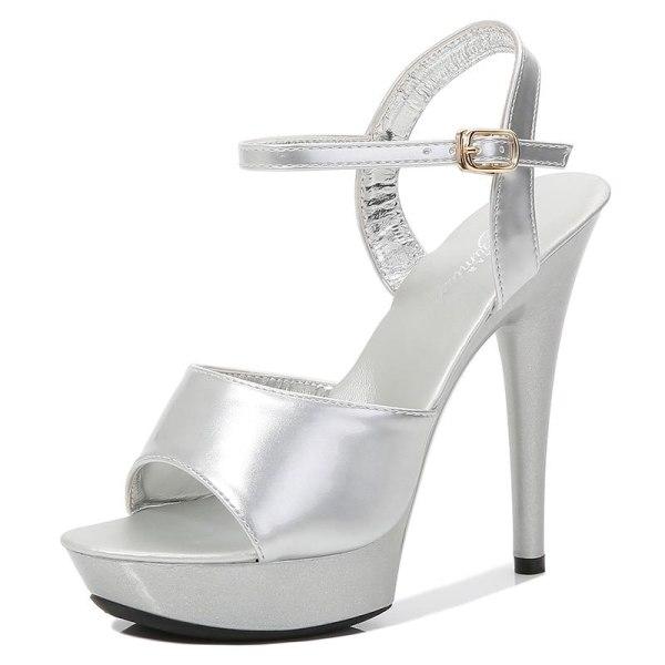 Pole dance skor strippa höga klackar (set 1) Sliver 1 5.5