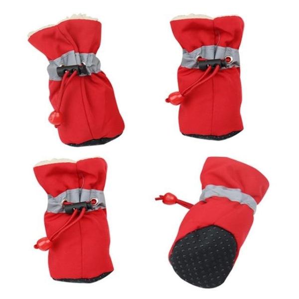 Vinter reflekterande varma husdjur skor, snö stövlar, Red XXXL