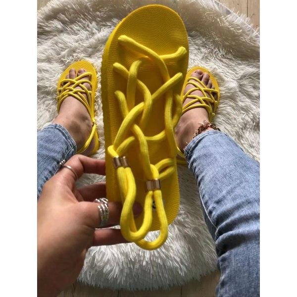 Damskor flätade rep strandskor Yellow 8