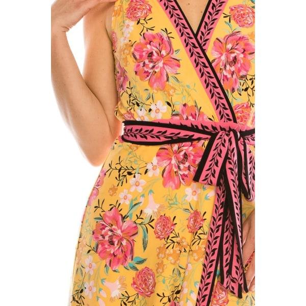 Blommig tryckt faux wrap klänning YELLOW 8