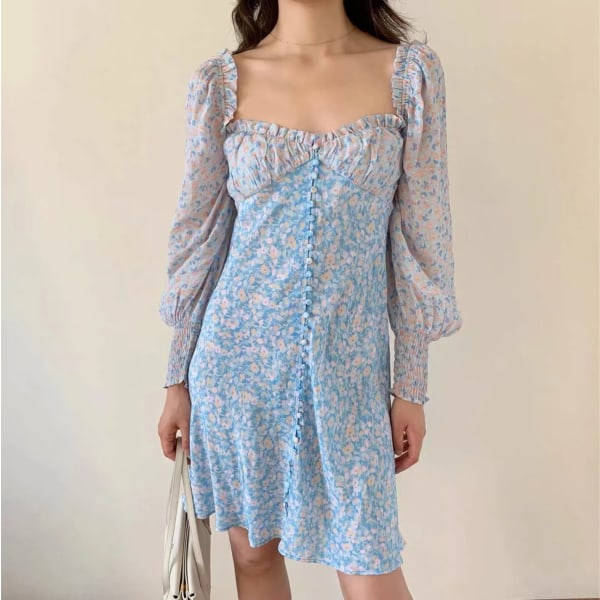 Blommigtryckt långärmad elegant klänning blue L