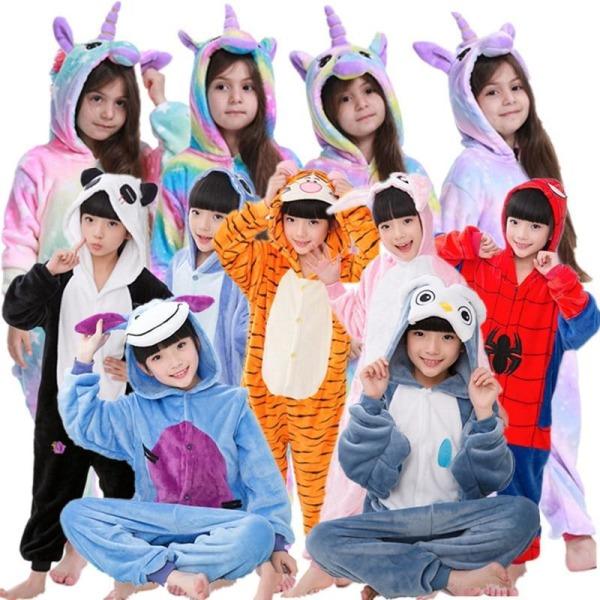 Unicorn pyjamas pojke romper tjej i ett stycke pyjamas tecknad purple unicorn 130-140cm