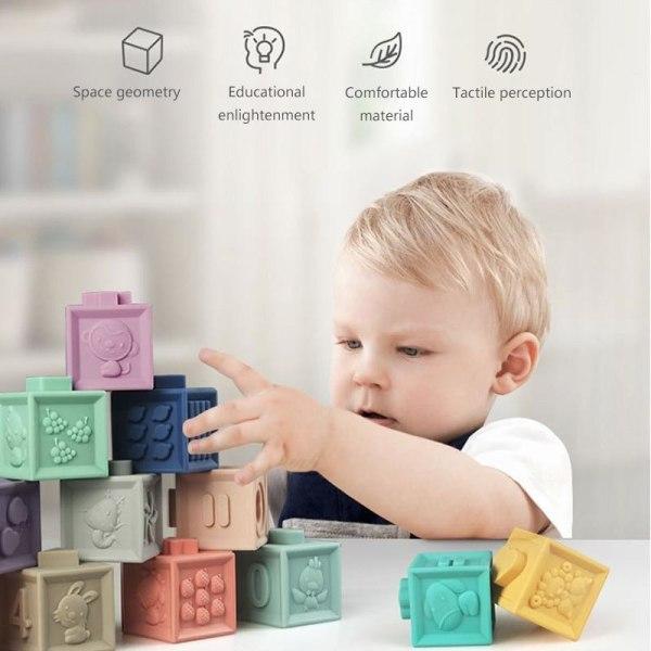 Gummiblock baby grepp, 3d touch byggsten, barn handbollar,
