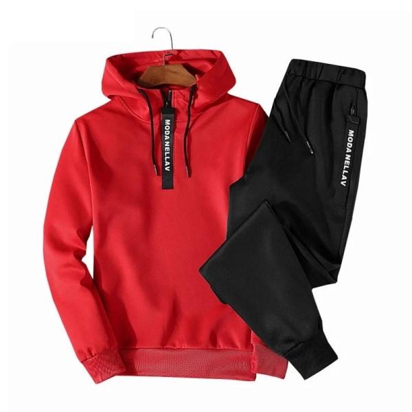 Casual sportkläder, hiphop, huvtröjor och byxor, XLem114 white