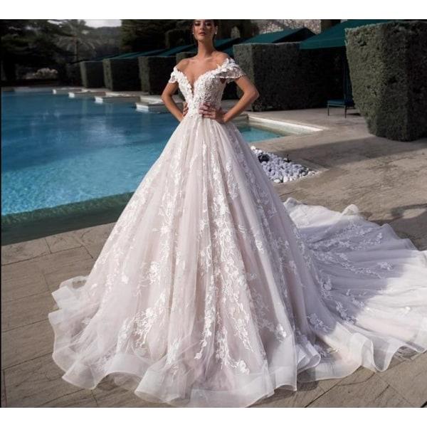 Lyxig pärlstav båthals snörning upp prinsessa brudklänning Pink 18W