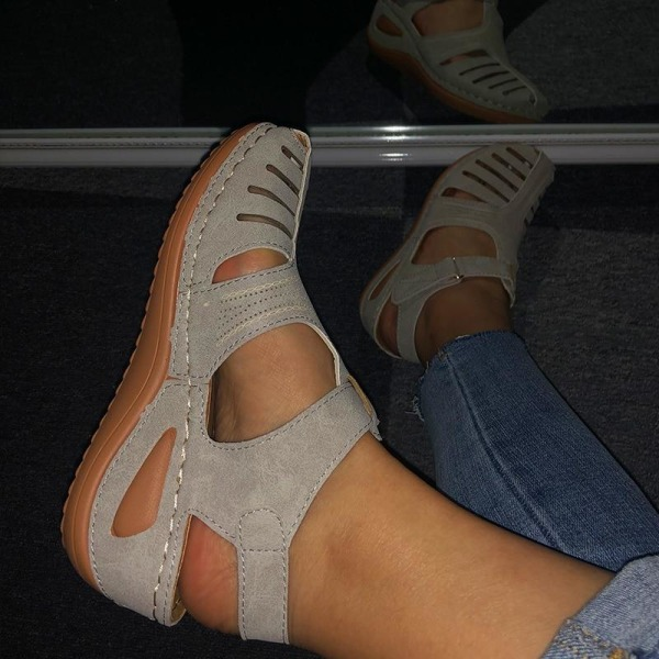 Kvinna sommar läder vintage sandaler Black 42