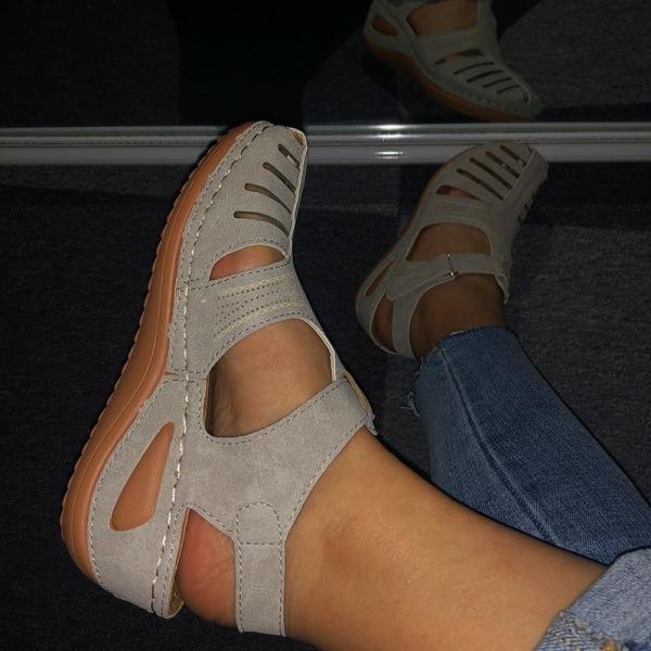Kvinna sommar läder vintage sandaler Brown 41