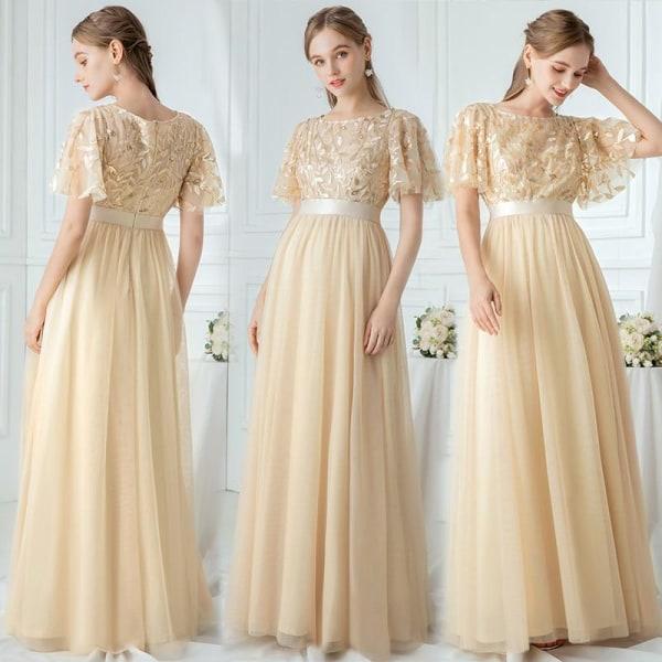 Kvällslånga drottning bröllopsklänningar Aline-Champagne 22