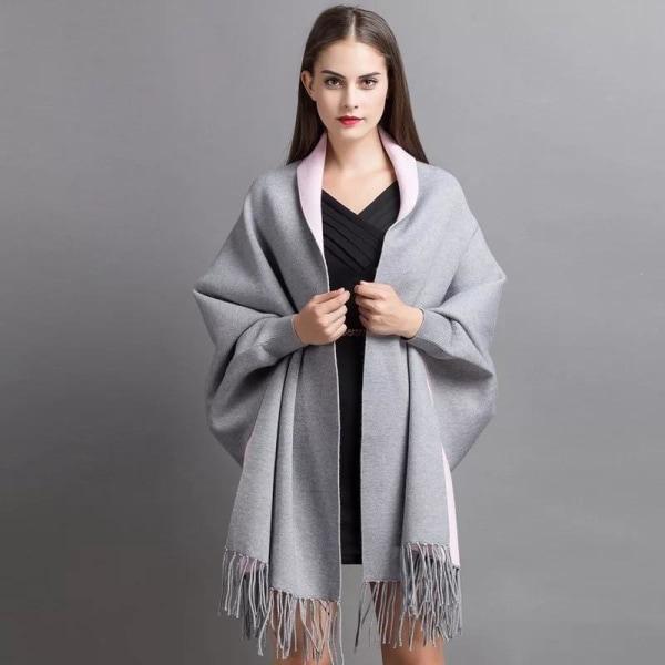 Kvinnor vinter poncho med ärm halsduk Sky blue
