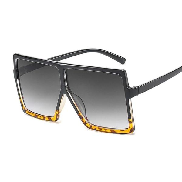 Kvinnor modemärke design nya solglasögon Black Leopard Gray