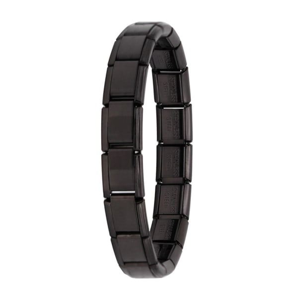 Damsmycken elastiskt charmarmband, rostfritt stålarmband Black