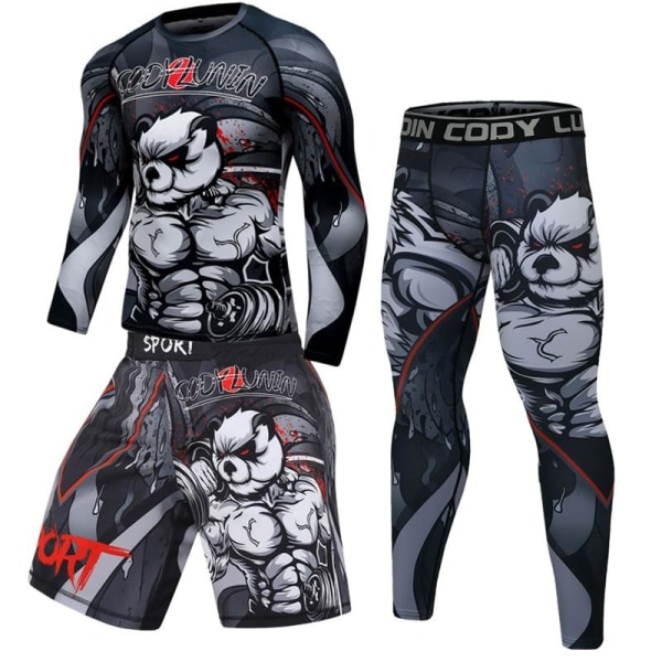 Herr boxning jersey set, fitness kompression sportkläder XXL9
