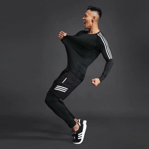Herrträningsdräkt för män, gym / jogging / löpande tighta S265-white side