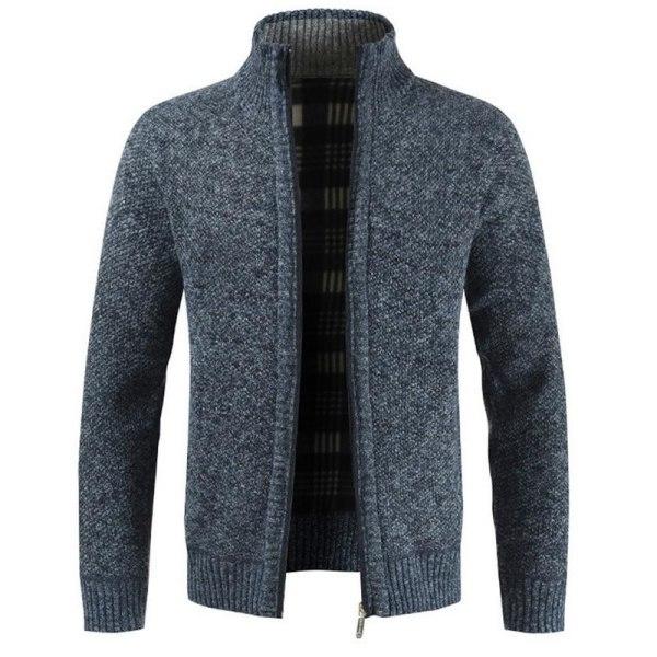 Herrtröja för män, ytterkläder varm vintertröja Navy 2 Asian Size L