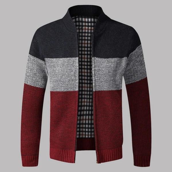 Herrtröja för män, ytterkläder varm vintertröja Red 2 Asian Size XXL