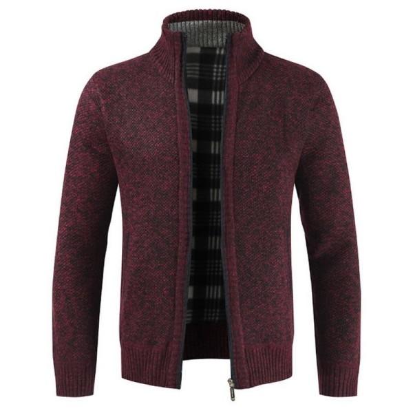 Herrtröja för män, ytterkläder varm vintertröja Red Asian Size XXL
