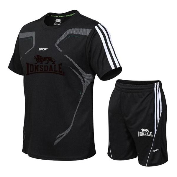 Män casual två delar kostym kortärmad t-shirt & shorts XLDJA2