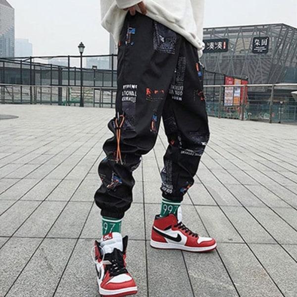 Män lösa joggare byxor med tryck, streetwear harem kläder XL(Weight 57-65kg)C