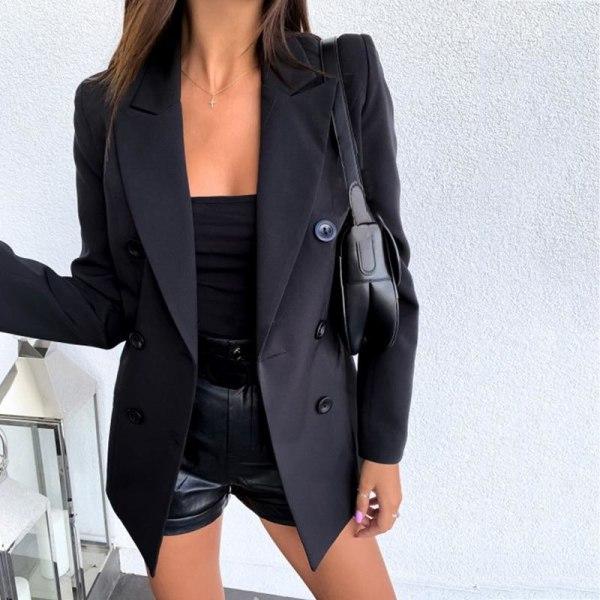 Mode dubbelknäppt kostymrock svart slim fit damrock Red XL