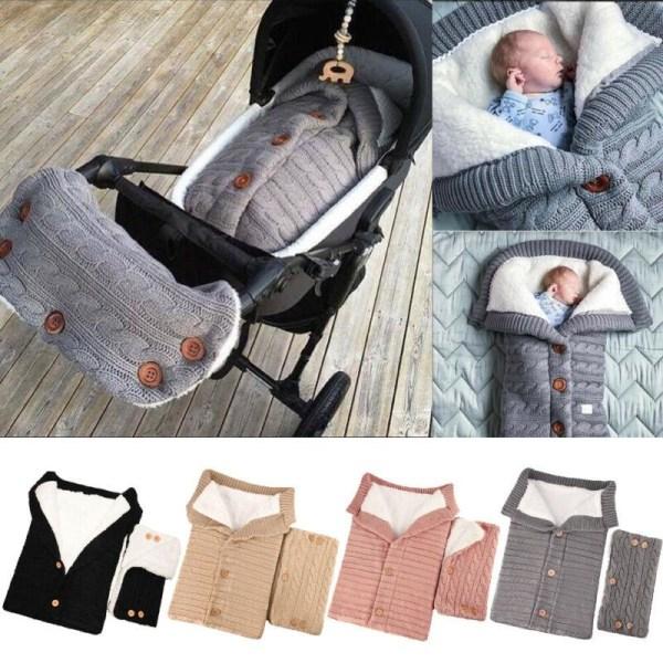 Nyfödda barnvagn linda sova vinter varm filt + barnvagn räcke White