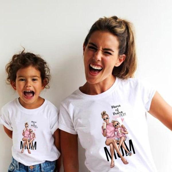 Roliga sommarfamilj matchande-kläder, vit t-shirt som matchar Mom-SQZ0035-2