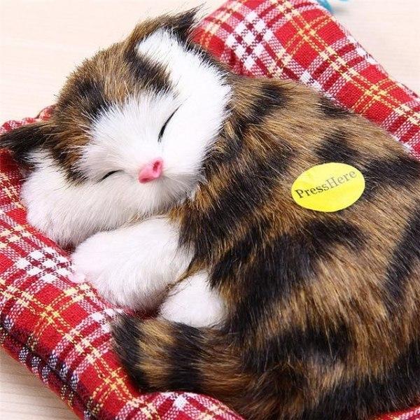 Simulering djur plysch leksak-söta sovande kattunge modeller F