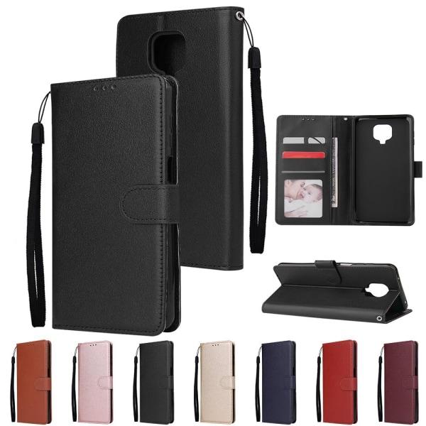 Typ 3 / set läder flip plånbok telefon fodral, omslag Gold Redmi Note 9 Pro Max