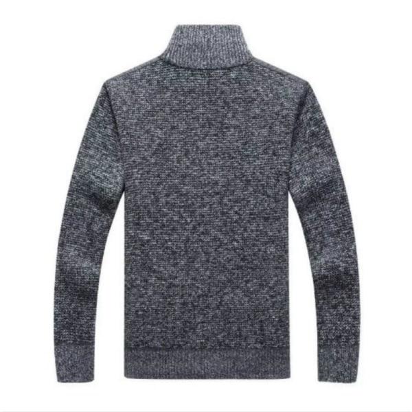 Vintertröja för fleece för män, tjock lapptäcke ull kofta Black L