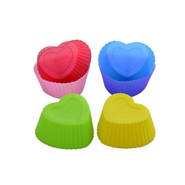 Muffinsformar i Silikon 6-Pack Hjärtan Silikonformar Formar
