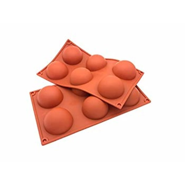 6 Halvklot SIlikonform Semisfär Mousseform Chokladform Pralinfor Brun