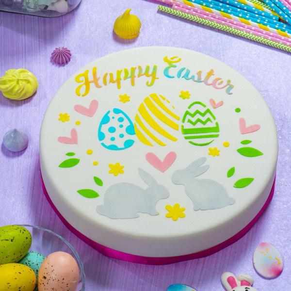 Påsk Stencil Happy Easter Tårtstencil - Decora flerfärgad