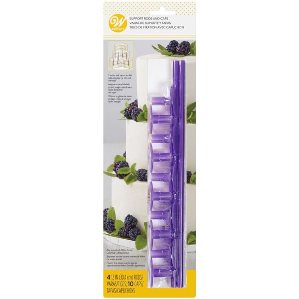 Wilton Plastic Support Rods and Caps pk/14 silver