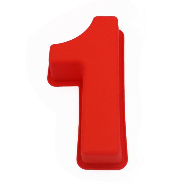Siffran 1 Ett Siffertårta Sifferform Röd