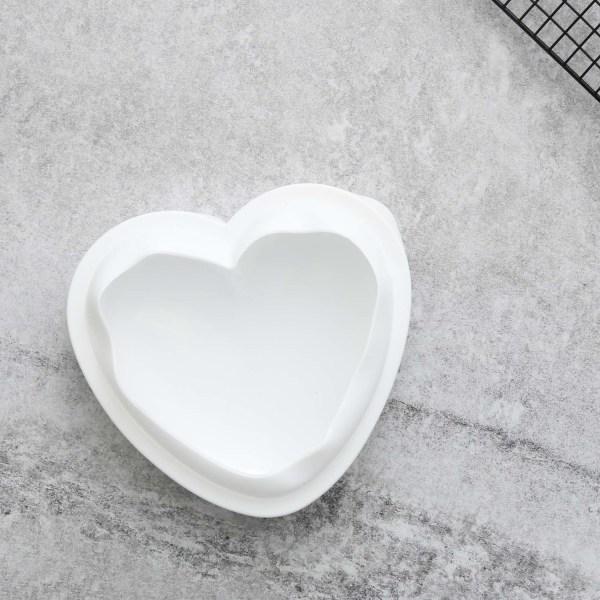 Hjärta Silikonform Mousseform   Mirror Glaze Vit