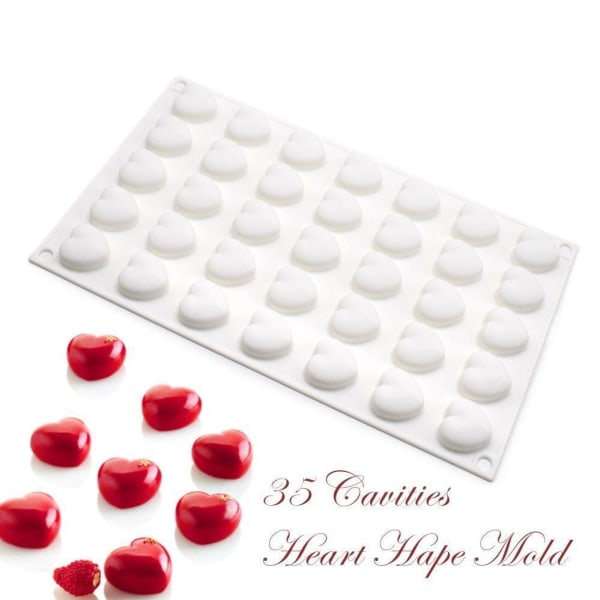 Hjärtan 35st Silikonform | Mousseform  Vit