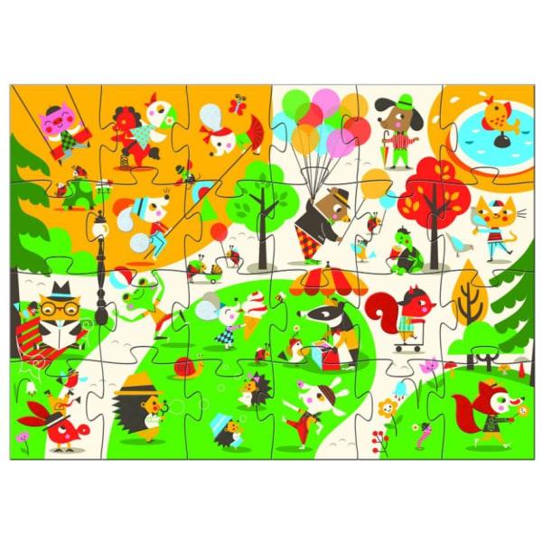 Flocky puzzle, Square Djurpussel Jättepussel Golvpussel - Djeco flerfärgad