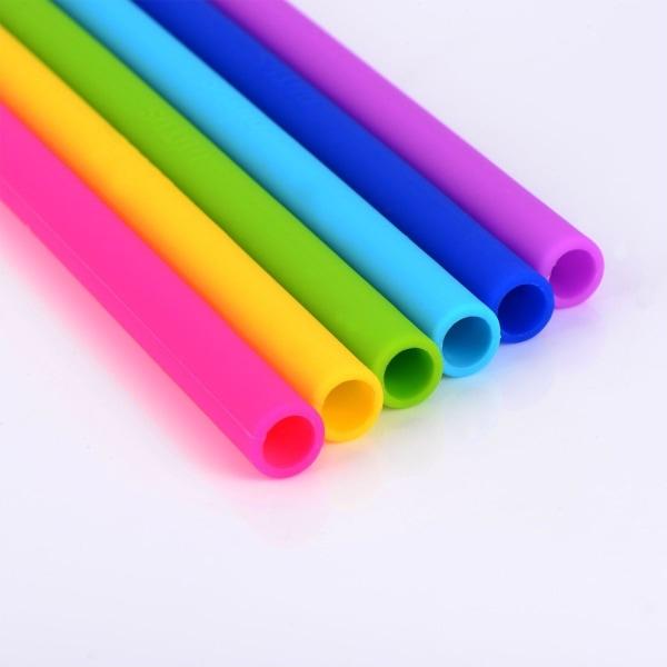 Sugrör i Silikon Silikonsugrör 12-Pack + 2st rengöringsborstar multifärg
