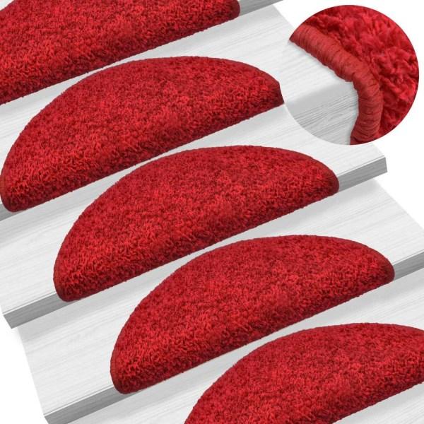vidaXL 15 st Trappstegsmattor röd 65x25 cm Röd