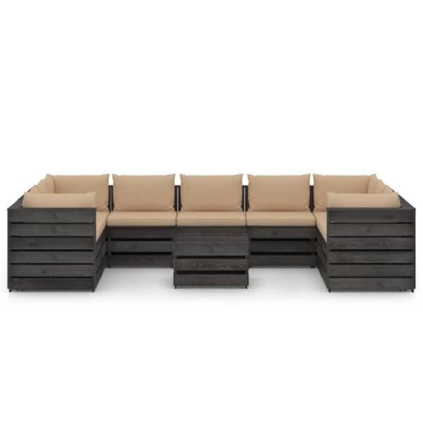 vidaXL Loungegrupp med dynor 10 delar grå impregnerat trä