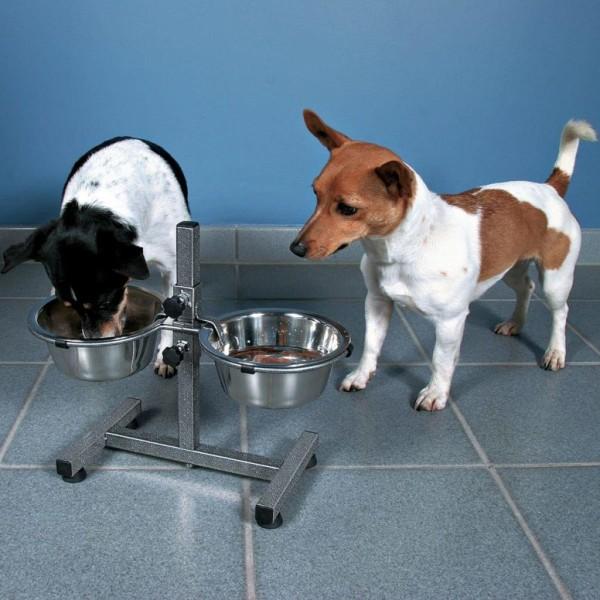 TRIXIE Justerbart ställ med hundskålar 3,6 L 20 cm 24921 Silver