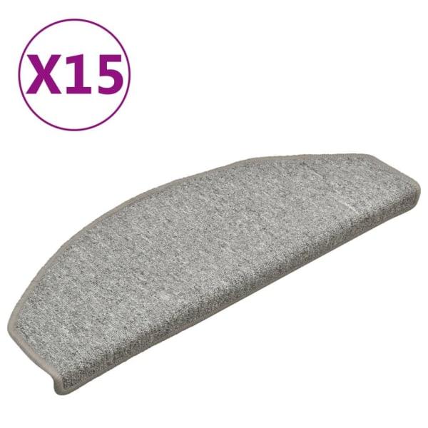 vidaXL Trappstegsmattor 15 st ljusgrå 65x24x4 cm Grå